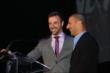 James Hinchcliffe presents Tony Kanaan with the 2013 Fan Favorite award -- Photo by: Chris Jones
