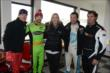 Scott Dixon, James Hinchcliffe, Simon Pagenaud, and Bryan Herta pose for a photograph with Susie Wheldon at the Dan Wheldon Pro-Am Karting Classic -- Photo by: Chris Owens