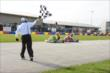 James Hinchcliffe takes the checkered flag over Zach Veach in one segment of the Dan Wheldon Pro-Am Karting Classic -- Photo by: Chris Owens