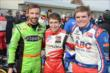 James Hinchcliffe, Zach Veach, and Conor Daly pose for a photo after their segment of the Dan Wheldon Pro-Am Karting Classic -- Photo by: Chris Owens