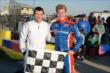 Mark Dismore Jr. and Josef Newgarden win the 2013 RoboPong 200 at New Castle Motorsports Park -- Photo by: Chris Owens