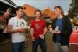 Mikhail Aleshin, Simon Pagenaud, and Josef Newgarden are ready to try grilled cheese sandwiches at the Indiana State Fair -- Photo by: Chris Jones