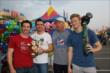 Simon Pagenaud, Mikhail Aleshin, NBCSN Reporter Robin Miller, and Josef Newgarden visit the Indiana State Fair -- Photo by: Chris Jones