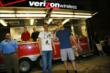 Mikhail Aleshin and Josef Newgarden visit the Verizon stand at the Indiana State Fair -- Photo by: Chris Jones