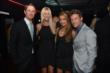 Ryan Hunter-Reay and wife Beccy, and Marco Andretti and girlfriend Marta at Club Nokia prior to the 2014 INDYCAR Championship Celebration -- Photo by: Chris Owens