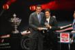 Carlos Munoz accepts the 2014 Verizon IndyCar Series Rookie of the Year Award at the 2014 Championship Celebration -- Photo by: Chris Jones