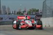 Juan Pablo Montoya exits Turn 2 during practice for the Chevrolet Dual In Detroit -- Photo by: Chris Owens