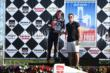 Graham Rahal accepts his 2nd place trophy for Race 1 of the Chevrolet Indy Dual in Detroit -- Photo by: Chris Jones