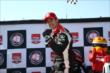 Helio Castroneves captures the Verizon P1 Award for winning the pole for Race 1 of the Chevrolet Indy Dual in Detroit -- Photo by: Chris Jones