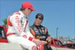 Scott Dixon and Simon Pagenaud chat prior to the start of Race 1 of the Chevrolet Indy Dual in Detroit -- Photo by: Chris Owens