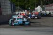 James Hinchcliffe leads a pack heading into Turn 5 during Race 1 of the Chevrolet Indy Dual in Detroit -- Photo by: Chris Owens