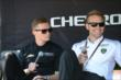 Mike Conway and Ed Carpenter chat with fans during a Q&A session in the Belle Isle Fan Village -- Photo by: Chris Owens