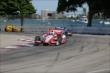 Juan Pablo Montoya leads a group into Turn 7 during Race 1 of the Chevrolet Indy Dual in Detroit -- Photo by: Joe Skibinski