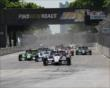 Helio Castroneves leads the field at the start of Race 1 of the Chevrolet Indy Dual in Detroit -- Photo by: Joe Skibinski