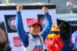 Takuma Sato celebrates winning the Verizon P1 Award for Race 2 of the Chevrolet Indy Dual in Detroit -- Photo by: Chris Jones