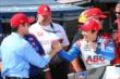 Takuma Sato is congratulated by Larry Foyt for winning the pole for Race 2 of the Chevrolet Indy Dual in Detroit -- Photo by: Chris Jones