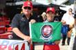 Takuma Sato and A.J. Foyt with the Verizon P1 Award flag for their pole for Race 2 of the Chevrolet Indy Dual in Detroit -- Photo by: Chris Jones
