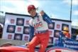 Takuma Sato celebrates winning the Verizon P1 Award for Race 2 of the Chevrolet Indy Dual in Detroit -- Photo by: Chris Owens