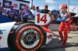 Takuma Sato affixes the Verizon P1 Award emblem for winning the pole for Race 2 of the Chevrolet Indy Dual in Detroit -- Photo by: Chris Owens