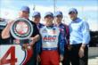 Takuma Sato, A.J. Foyt, Larry Foyt, and the A.J. Foyt Enterprises team with the Verizon P1 Award -- Photo by: Chris Owens