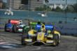 Marco Andretti leads Jack Hawksworth and Ryan Briscoe into Turn 7 -- Photo by: Chris Owens