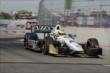 Mike Conway exits Turn 2 during qualifications for Race 2 of the Chevrolet Indy Dual in Detroit -- Photo by: Joe Skibinski