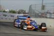 Charlie Kimball exits Turn 2 during qualifications for Race 2 of the Chevrolet Indy Dual in Detroit -- Photo by: Joe Skibinski