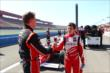 Sage Karam congratulates Zach Veach on his pole position -- Photo by: Chris Jones