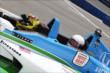 Sarah Fisher at the wheel of the INDYCAR two-seater at Auto Club Speedway -- Photo by: Chris Jones