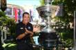 Helio Castroneves poses with the Astor Cup at The Grove LA -- Photo by: Chris Jones