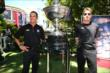 Teammates Helio Castroneves and Will Power with the Astor Cup at The Grove LA -- Photo by: Chris Jones
