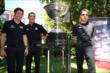 Simon Pagenaud, Helio Castroneves, and Will Power with the Astor Cup -- Photo by: Chris Jones