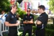 Simon Pagenaud, Helio Castroneves, and Will Power chat during the media availability and meet-and-greet at The Grove LA -- Photo by: Chris Jones