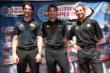 Simon Pagenaud, Will Power, and Helio Castroneves at the meet-and-greet at The Grove LA prior to the final race of 2014 -- Photo by: Chris Jones