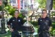 Helio Castroneves and Will Power with the Astor Cup at The Grove in Los Angeles, CA -- Photo by: Chris Owens