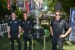 Simon Pagenaud, Helio Castroneves, and Will power with the Astor Cup at The Grove in Los Angeles, CA -- Photo by: Chris Owens