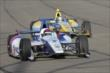 Mikhail Aleshin and Marco Andretti enter Turn 3 during the Open Test at Auto Club Speedway -- Photo by: Joe Skibinski