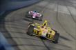 Ryan Hunter-Reay and Takuma Sato enter Turn 3 during the Open Test at Auto Club Speedway -- Photo by: Joe Skibinski