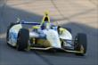 Marco Andretti enters Turn 3 during the Open Test at Auto Club Speedway -- Photo by: Joe Skibinski