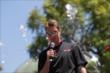 Will Power speaks to the crowd during the meet-and-greet at The Grove LA -- Photo by: Joe Skibinski