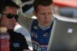 Ryan Briscoe reviews telemetry data in his pit stand at Auto Club Speedway -- Photo by: Joe Skibinski