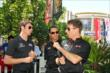 Simon Pagenaud, Helio Castroneves and Will Power chat at The Grove LA -- Photo by: Richard Dowdy