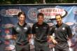 Simon Pagenaud, Will Power, and Helio Castroneves pose for a photo at The Grove LA -- Photo by: Richard Dowdy