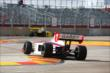 Gabby Chaves navigates through the Turn 2 chicane during practice in Houston -- Photo by: Chris Jones