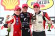 Sage Karam, Gabby Chaves, and Conor Daly on the podium in Houston -- Photo by: Chris Jones