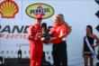 Scott Dixon accepts his 2nd place trophy for Race 2 of the Shell and Pennzoil Grand Prix of Houston -- Photo by: Bret Kelley