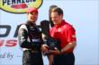 Will Power accepts his winners trophy for during Race 2 of the Shell and Pennzoil Grand Prix of Houston -- Photo by: Bret Kelley