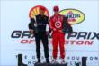 Will Power and Scott Dixon pose together as doubleheader race winners for the 2013 Shell and Pennzoil Grand Prix of Houston -- Photo by: Bret Kelley