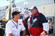 A.J. Foyt and Team Penske President Tim Cindric chat during pre-race festivities for Race 2 of the Shell and Pennzoil Grand Prix of Houston -- Photo by: Chris Jones