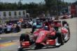Scott Dixon leads a pack of cars through the Turn 2 chicane at the start of Race 2 of the Shell and Pennzoil Grand Prix of Houston -- Photo by: Chris Owens